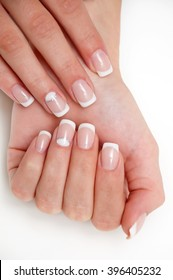 classic French manicure with a dedicated ring finger