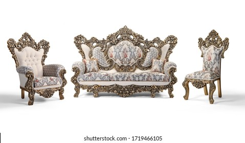 Classic furniture set on a white background