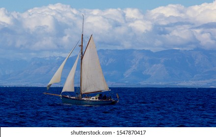 A classic gaff rig yacht sails in False Bay Cape Town South Africa September 2018