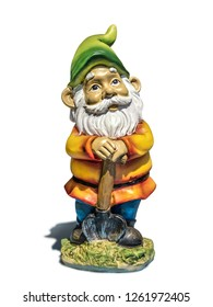 Classic garden gnome with spade on white background