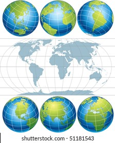 Classic Globes with World Map