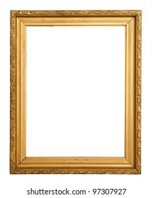 Classic gold frame. Isolated over white background with clipping path