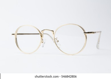 Classic gold glasses isolated cut out