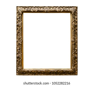 Classic golden canvas painting frame isolated on white background