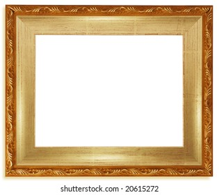 Classic golden frame isolated on white background.