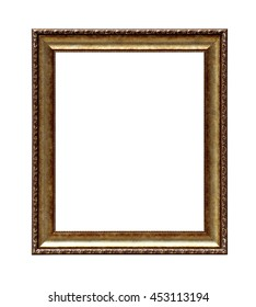 Classic golden painting canvas frame isolated on white background