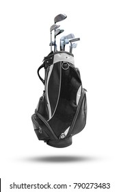 Classic Golf Bag and Golf Club isolated on white background.