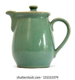 Classic Green ceramic Earthenware jug for milk or gravy