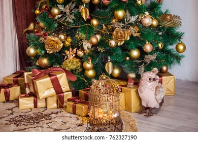 Classic green tree decorated in christmas toys. Merry christmas and new year interior background.
