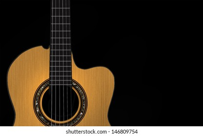 Classic guitar isolated on a black background