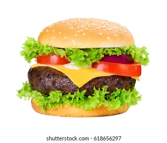 Classic hamburger with big grilled putty isolated on white background