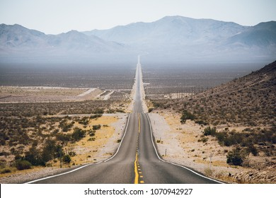 Classic highway scene in the American West
