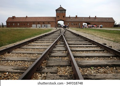 classic historical view of Auschwitz death camp in color