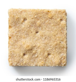 Classic homemade square shortbread biscuit isolated on white from above.