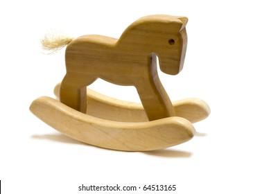 Classic homemade wooden rocking horse on white background.