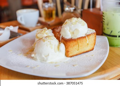 Classic Honey Toast with Vanilla Ice Cream on top