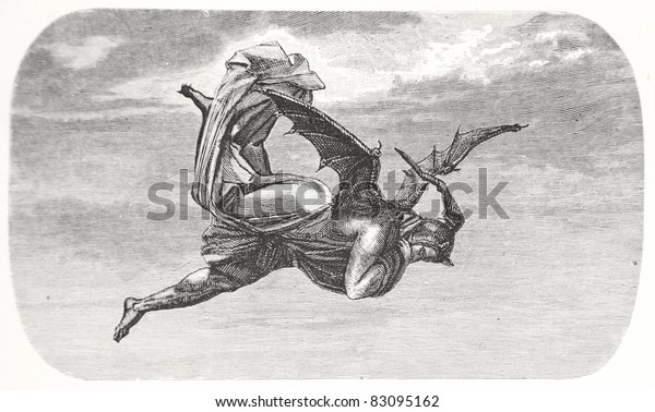 """Klassische Illustration zum Fliegen von Mephisto, von August von Kreling in Wolfgang von Goethe's """"Faust"""", 1874 in München"""