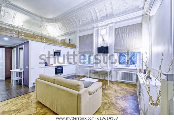 Classic Interior Design Duplex Apartment White Stock Photo Edit Now