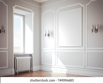 Classic interior with gray walls and blank picture frame. 3d rendering