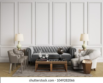 Classic interior in pastel colors. Sofa,chairs,sidetables with lamps,table with decor.White walls with mouldings. Floor parquet herringbone.Mockup,copy space.Digital illustration.3d rendering