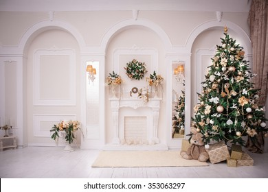 Classic Interior room decorated in Christmas style with Christmas tree and gifts