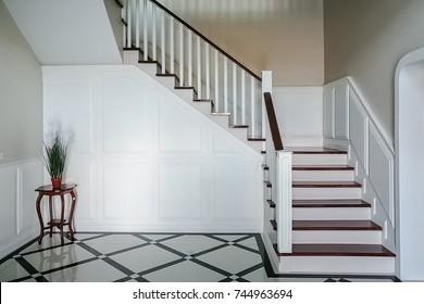Classic interior view of stair in vintage house, interior concept with copy space