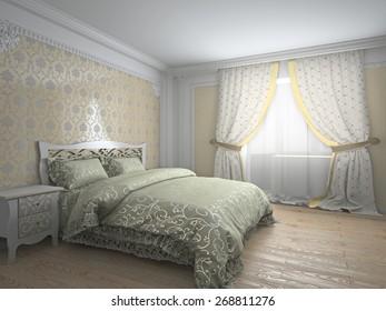 Classic interior in warm tones 3d rendering