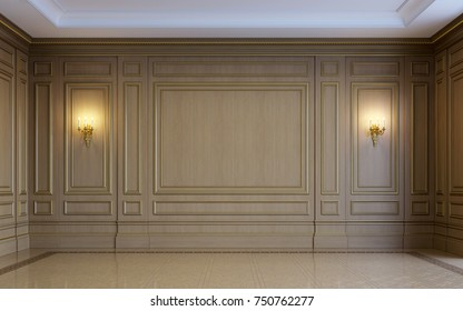 A classic interior with wood paneling and parquet. 3d rendering.