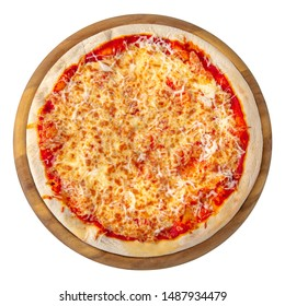 Classic italian pizza on a round wooden board. Isolated on white. Top view