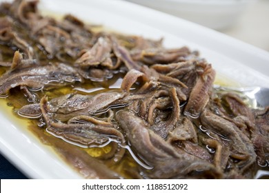 Classic Italian seafood appetizer from southern Italy of anchovies or anchovies in strictly extra virgin olive oil, a delicacy Turin Italy September 2018