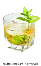 classic Kentucky derby cocktail the mint julep isolated on a white background