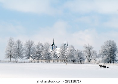 A classic Kentucky Horse Farm in the grips of winter.
