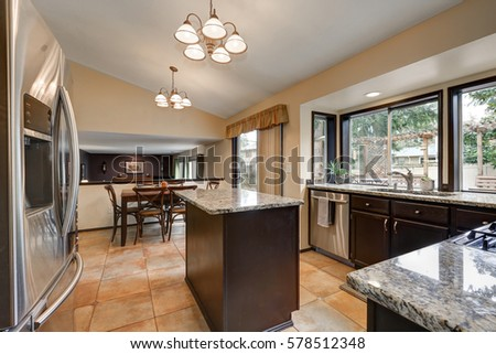 Classic Kitchen Room Design Kitchen Island Stock Photo Edit Now