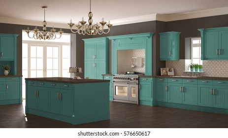 Classic kitchen, scandinavian minimal interior design with wooden and turquoise details, 3d illustration