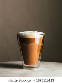 classic latte in clear glass