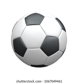 Classic leather football on the white background. 3d illustration.