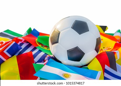 Classic leather soccer ball with nations teams flags of the participating countries in the tournament isolated on white background. World cup concept
