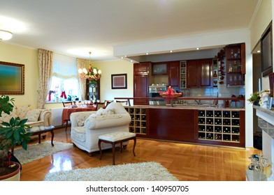 Classic living and dining room interior