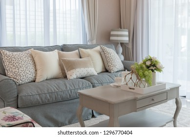 classic living room style with elegance sofa and set of pillows, interior design decoration concept