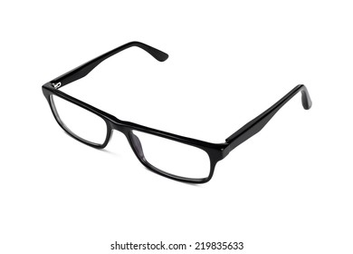 Classic looking black eye glasses on a white background