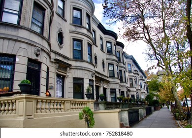 Classic, lovely Brownstone homes fill block after block in Bedford- Stuyvesant. Brooklyn. New York USA