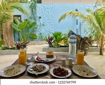 A classic Maldivian locals breakfast,  Maldives