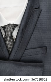 Classic male suit, shirt and tie, closeup. View from above