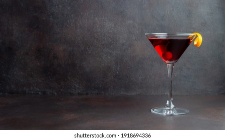 Classic Manhattan cocktail. Alcoholic beverages. Bar Restaurant