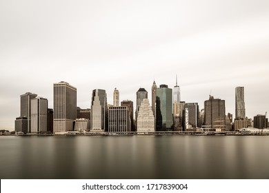 Classic Manhattan skyline in a moody cloudy morning