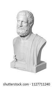 Classic marble statue of a man on a white background