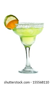 classic margarita with a salt rim, lime and orange garnish isolated on a white background