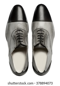 Classic Men Retro Black and Grey Leather Shoes For Men in Traditional Style with Black polished Leather, Oxfords Shoes