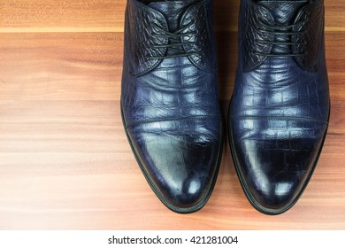 Classic men shoes on wood background