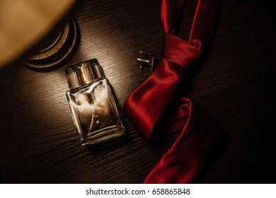 Classic men's accessories. Top view